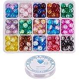 PandaHall Elite Circa 195pcs 15 Colore 10mm Rotondo Spray Verniciato Crackle Perline di Vetro Assortimento Lotto con Filo Ela