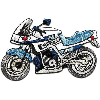 13,5 x 6 cm Motorrad Biker Aufnäher // Bügelbild rot Applikationen Patch