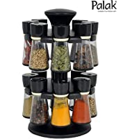 Palak Plastic Revolving Masala Box Spice Rack Set, 120 ml, 16-Pieces, Black