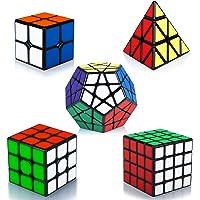 Maomaoyu Rubiscube Speed Cube ,Cube de Vitesse Pack de 5,Ensemble de Cubes 2x2 3x3 4x4 Megaminx Pyraminx Pyramide Cube…