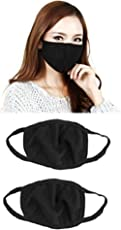 PINKIT Anti-Pollution Dust Cotton Unisex Mouth Mask(Set Of 2) Black