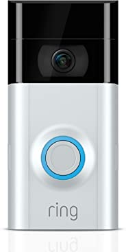 Ring Video Doorbell 2, videodeurbel, 1080p HD-video, tweeweg-audio, bewegingsdetectie, wifi-verbinding