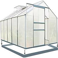 Zelsius - Aluminium Gewächshaus, Garten Treibhaus in verschiedenen Größen, mit Hohlkammerstegplatten, wahlweise mit Stahl-Fundament-Rahmen (190 x 310 cm - 6 mm Platten, mit Fundament)