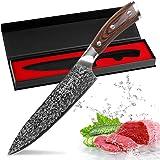 FineTool Couteau de Cuisine, 8 Pouces Couteau de Chef Professionnel, couperet à légumes Allemand 7Cr17 en Acier Inoxydable, A