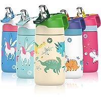 FJbottle Gourde Isotherme Enfant avec paille - 350ML/400ML Bouteille Isotherme Enfant - Sans BPA Tritan, Anti-fuite…