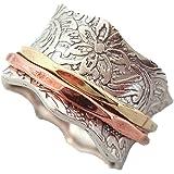 Energy Stone Equilibrio & Bellezza - Anello girevole di meditazione in argento sterling - base lavorata a foglie - inserti gi