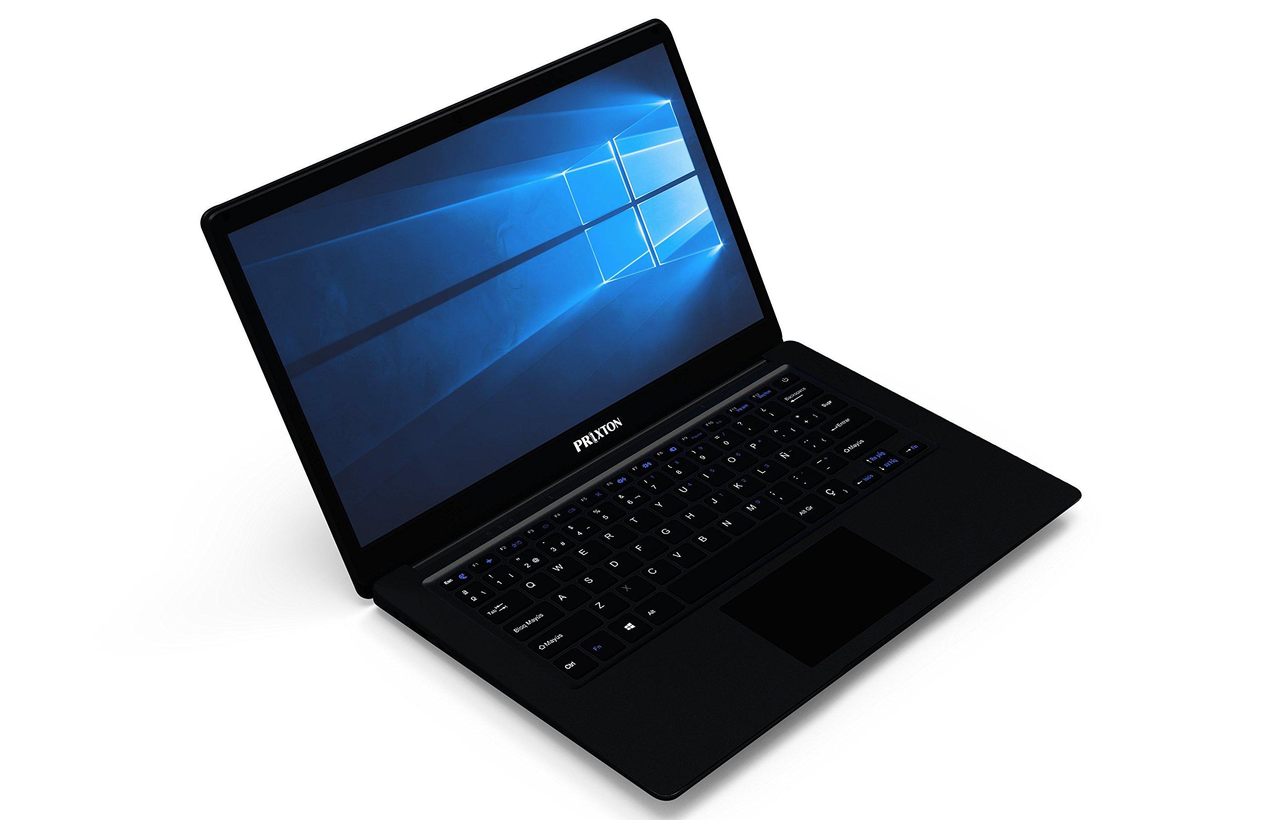 PRIXTON Ordenador Portátil Netbook 14″ Windows 10 Intel Teclado QWERTY Español Negro