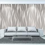 Youyijia 3D Non-Woven Wallpaper 10 * 0.53m Water Plant Pattern Embossed Wallpaper Wave Stripes Embossed Design Modern Minimal