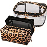 Jarrel 3Pcs Makeup Bag Set Travel Portable Cosmetic Bag - Clear & Leopard Print Pouch Waterproof Organizer Multifunction Case
