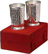 """Anand Crafts Silver Plated Brass Glass Set 2 Pcs. (2.75'' Diameter x 4.5"""")"""