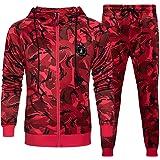 Men Tracksuit Set Camouflage Sweatshirt Jogger Sweatpants Solid Patchwork Warm Sports Suit