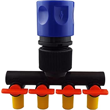 4 WAY micro irrigation tap splitter, Run 4 different 4/6MM irrigation lines together or separately,range of outlets, By Cost Wise® ,the irrigation specialists (with female click-lock)