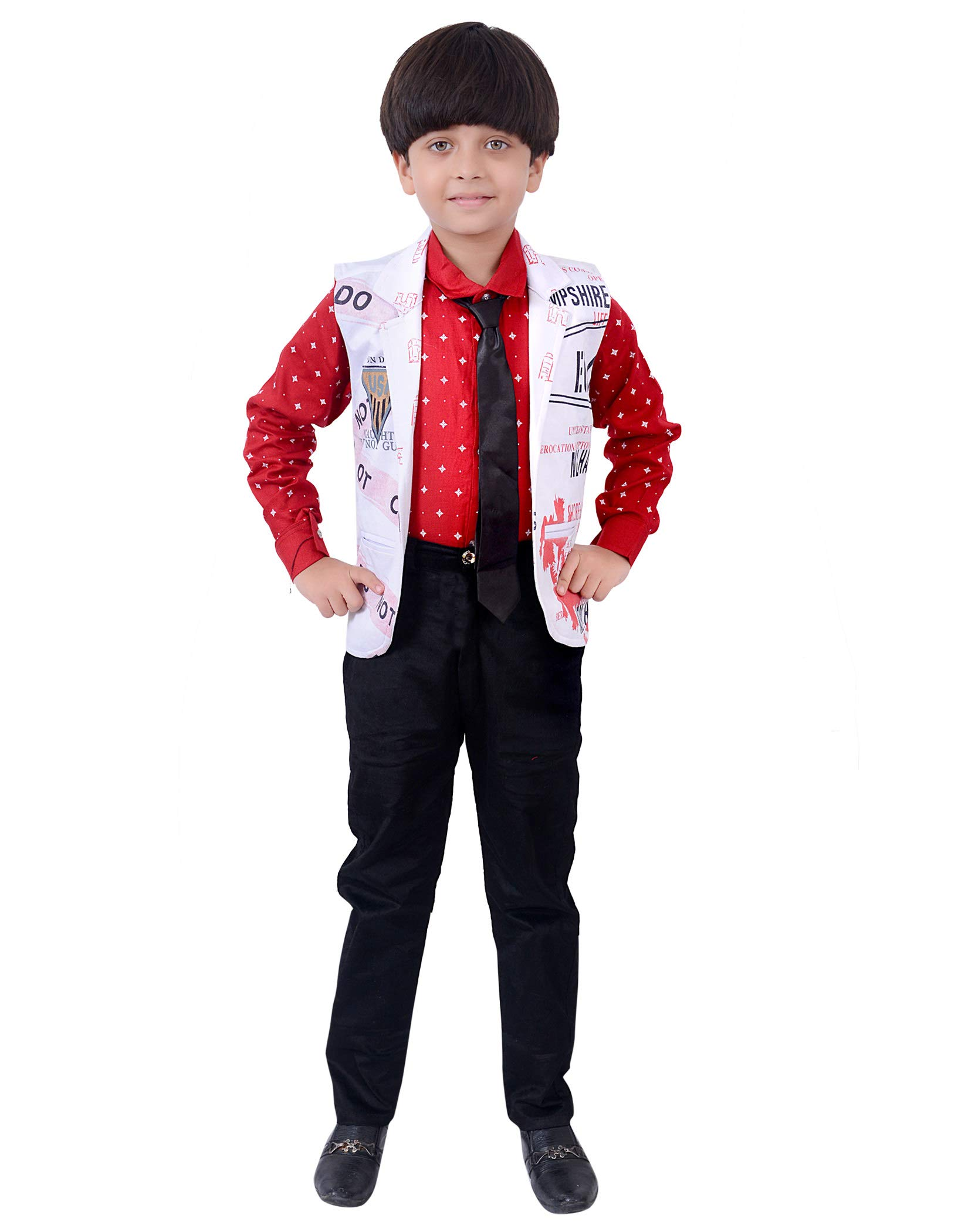 e1017540d Arshia Fashions Boys Shirt Waistcoat and Pant with Tie Set Party ...