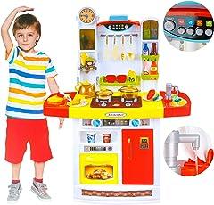 Kinderspielküche Kinderküche Spielküche Spielzeug Zubehörteile KP1722 Küche; Küche Spielküche für Kinder mit Zubehör SpielKüche mit Kochgeschirr, inkl. Licht und Kochgeräuschen,Mädchen Spielzeug