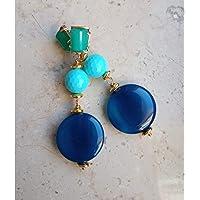 orecchini nuova collezione fatti a mano con pietre dure di agate blu, turchese e montatura con occhi di gatto verde…