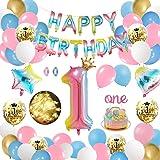 APERIL Palloncini Compleanno 1 Anno Gradiente Arcobaleno, con Catena di Luci a LED Palloncini Buon Compleanno Palloncini Nume