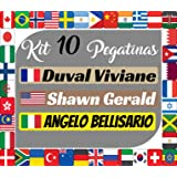 Kit x10 Pegatinas Vinilo Banderas Internacionales + tu Nombre - Bici, Casco, Pala De Padel, Monopatin, Coche, Moto, etc. Kit