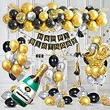 Decorazioni Feste di Compleanno con Banner di Buon Compleanno in Oro Metallizzato, Forniture di Palloncini Coriandoli in Arge