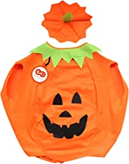 SYMTOP Kürbis Kostüm Halloween Cosplay Party Abendkleid Trick or Treat Kostümzubehör Erwachsene(Mit Hut)
