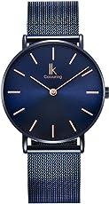Alienwork IK Armbanduhr für Herren Damen Slim Uhr Ø36mm mit Milanaise-Armband