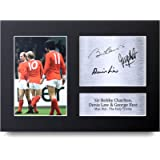 HWC Trading Denis Law, George Best & Bobby Charlton Gift Signed A4 Printed Autograph Manchester United Gifts Photo…