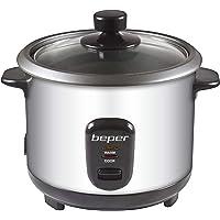 Beper - Rice Cooker et Cuiseur à Vapeur 2en1 en Acier, Capacité 1L pour 625gr de Riz, Système de Maintien de la Chaleur…