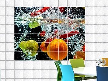 Graz Design 761676_15x15_60 Fliesenaufkleber Fliesen Dekor Bad Küche Natur  Fliesensticker Obst Wasser Orange Birne Erfrischung Fliesengröße