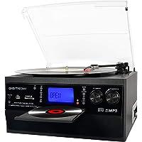 Bluetooth Plattenspieler mit Stereo Lautsprecher, LP Vinyl zu MP3 Konverter, 3 Geschwindigkeit Schallplattenspieler mit…