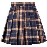 Hoerev Mångsidig rutig veckad kjol för kvinnor, flickor, med shorts för kallt väder