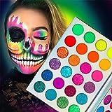 Palette Di Ombretti Glow In The Dark Neon-Luminous-Glitter 24 Colori, Afflano Eyeshadow Pelette Con Fluorescente a Luce Nera