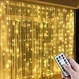 Anpro LED-lichtgordijn,3m x 3m 300 LED Gordijn licht Warm Wit Venster Fairy String Lights, 8 Modi Afstandsbediening met USB-a
