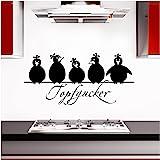 Grandora Muursticker Topfgucker 5 vogels I zwart 58 x 27 cm I keuken spreuk citaat sticker zelfklevende muursticker muurstick
