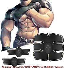 BOSHANDA Elettrostimolatore Muscolare Trainer Muscle Stimulator EMS Addominali Trainer Cintura Addominale Portatile ABS Stimolatore Addome/Braccio/Gambe/Waist/Glutei Massaggi-attrezzi Uomo/Donna