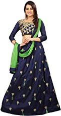 RAMDEV Women's Tappeta Silk Embroidered Lehenga Choli for women | low price premium | heavy latest design for ladies | Party wear | lc | (Blue,Free Size, Semi-Stitched)