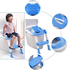 Tied Ribbons 2 in 1 Foldable Baby Kids Potty Trainer Seat for Toilet Potty Stand Seat with Ladder for Kids, Blue