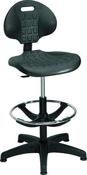 Office Hippo Laboratory Factory Chair With High Rise Adjustable Draughtsman Extension Kit Black