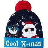 AIDEAONE novità LED Light Up Beanie Hat Lettera Maglia cap per Uomo Donna Ragazzi Ragazze Feste di Natale Festival Feste di c