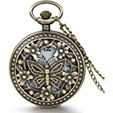 JewelryWe Reloj de Bolsillo pequeño con Cadena Larga, Flores y Mariposa Retro Hueco Colgante para Vestido, Regalo para Mujer