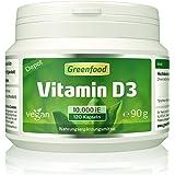 Greenfood Vitamin D3, Depot, 10000 IE, 120 Kapseln, vegan (1 Kapsel = 10-Tagesration). Ohne künstliche Zusatzstoffe, ohne Gentechnik.