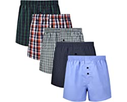 Lovemist Mens Boxers Mens Underwear Classic Woven Cotton and Breathable Plaid Checked Boxers Multipack