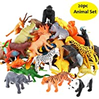 SaleON® 20pc Wildlife Model Children Puzzle Early Education Gift Mini Jungle Animal Toy Set Realistic Animal Figures Toys for Kids , Animal Toy Set Play for Kids (1215)