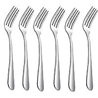 HornTide 6-Piece Dinner Forks Set 4 Tines Fourchette de table Couverts Acier inoxydable polissage miroir 7-pouces 18cm