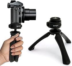 igadgitz PT310 Kompaktes Dreibeiniges Mini-Tischstativ und Griff Stabilisator für Digitalkamera, DSLR, Videokamera und Kamerarekorder – Schwarz