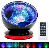 Lámpara Proyector Estrellas, Luz Nocturna Infantil con Control Remoto Temporizador 8 Modos Romántica y 6 Sonidos Musical para