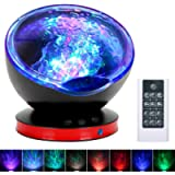 [Upgraded]Ocean Projector Lamp Night Light+Remote Control+Timer, Bedside Child Lights Baby Gifts with 8 Color Modes+6…