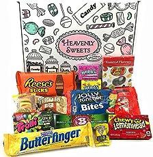 Kleiner Amerikanische Süßigkeiten Geschenkkorb von Heavenly Sweets | Süßigkeiten aus den USA | Auswahl beinhaltet Reeses, Jelly Belly, Jolly Rancher | 12 Produkte in einer tollen retro Geschenkebox