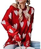 ZIYYOOHY Damen Pullover Oversize V Ausschnitt Lose Pulli Strickpullover Outwear