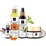Good Vibes Ultimate Glow Combo Kit (Papaya Face Wash 120 ml + Rosehip Serum 10 ml + Green Tea Toner 120 ml + Coconut Face Cre