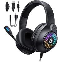 AUKEY Cuffie Gaming RGB con Audio Stereo & Driver da 50mm, Cuffie da Gaming con Microfono a Cancellazione del Rumore e…