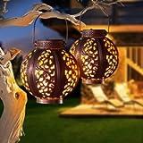 [2 Pack] Solar Lanterns Outdoor, Hanging Garden Lantern Solar Powered Waterproof Solar Lights Metal Art Garden Ornaments…